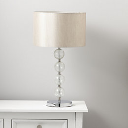 Gina Crackled Glass Cream Chrome Effect Table Lamp