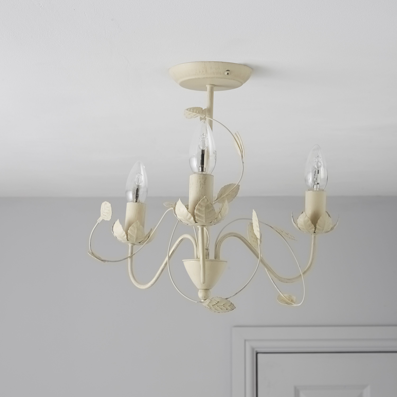 Eva cream 3 lamp ceiling light departments diy at b q for Homemade ceiling lamp