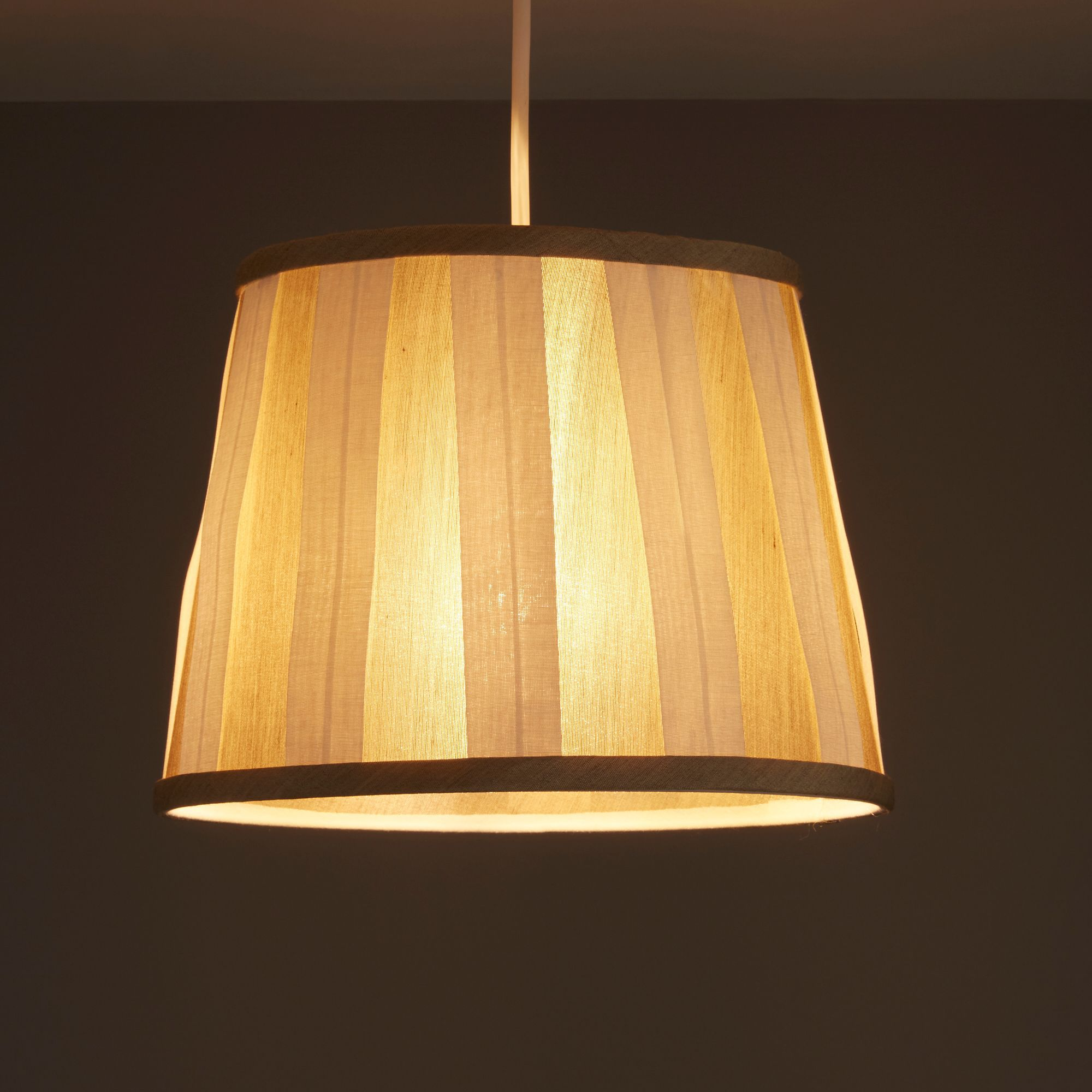 Colours Margaret Ivory Striped Light Shade (d)102mm