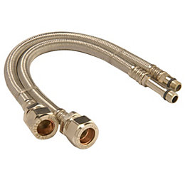 Monobloc Flexible Tap Connector, (Dia)15mm (Dia)10mm (L)300mm,