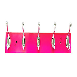 B&Q Pink & Silver Hook Rail (H)72mm (W)12mm