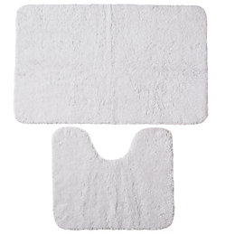 B&Q Value White Cotton Bath & Pedestal Mat