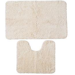B&Q Value Cream Cotton Bath & Pedestal Mat