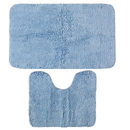 B&Q Value Blue Cotton Bath & Pedestal Mat