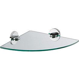 Cirque Glass Corner Shelf (L)263mm (D)263mm