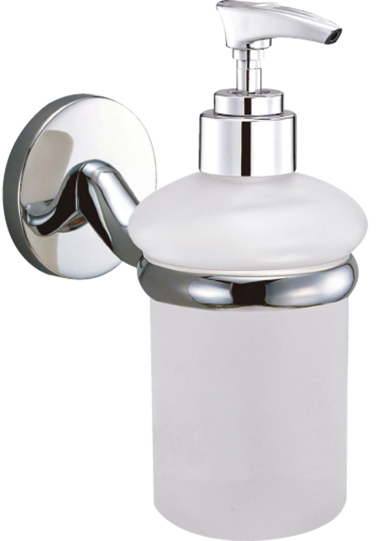 B&q Curve White Chrome Effect Wall Mounted Soap Dispenser