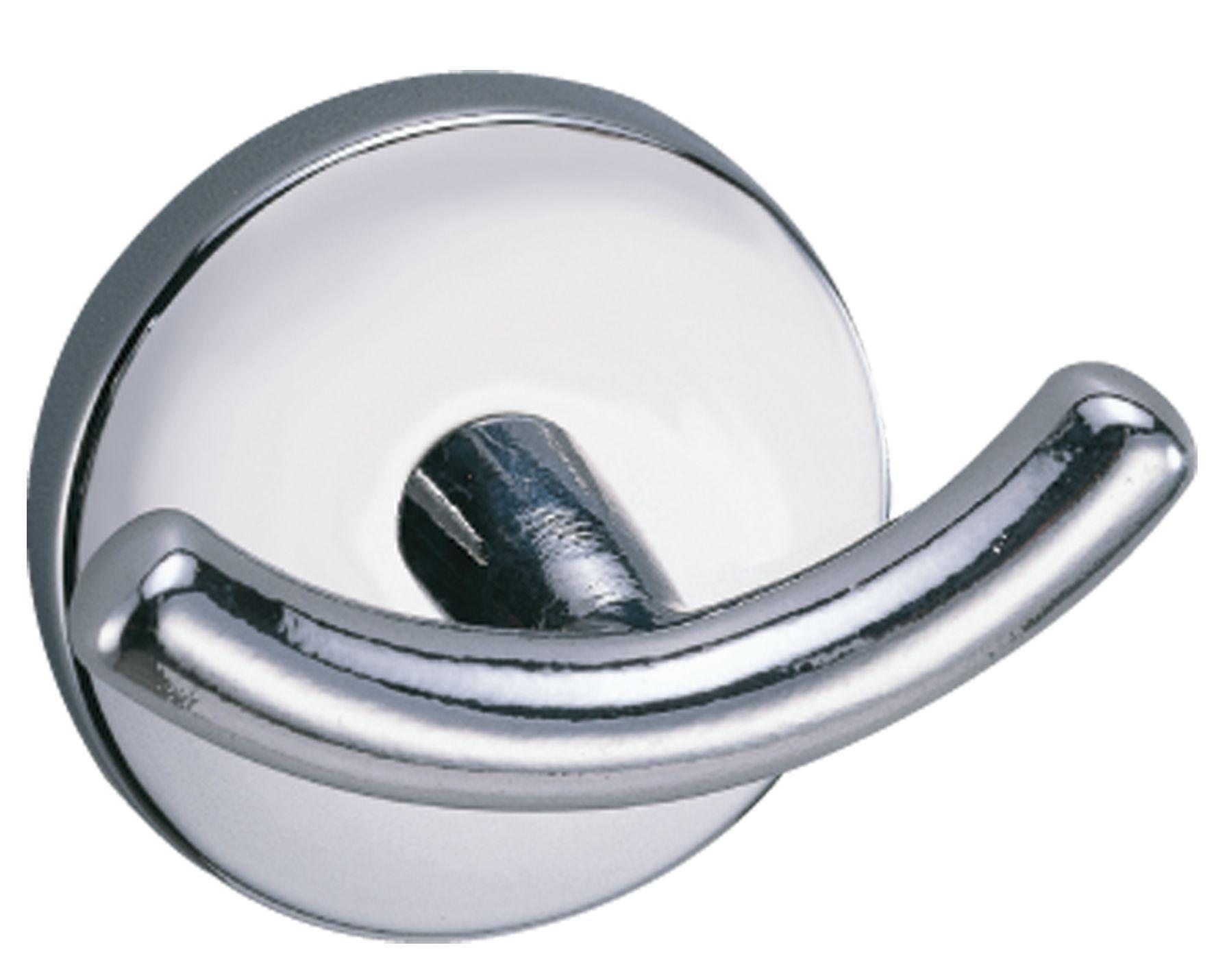 B&q Curve Silver Chrome Effect Double Hook