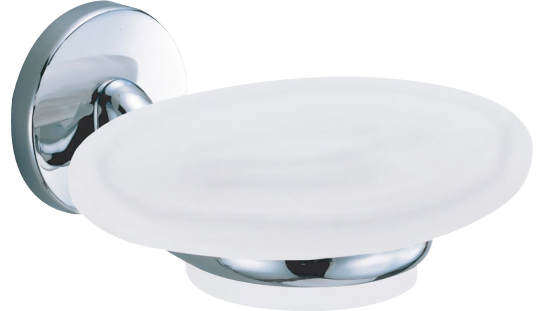 B&q Curve White Chrome Effect Wall Mounted Soap Dish