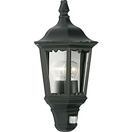 Ryedale Black 60W Mains Powered External Pir Lantern