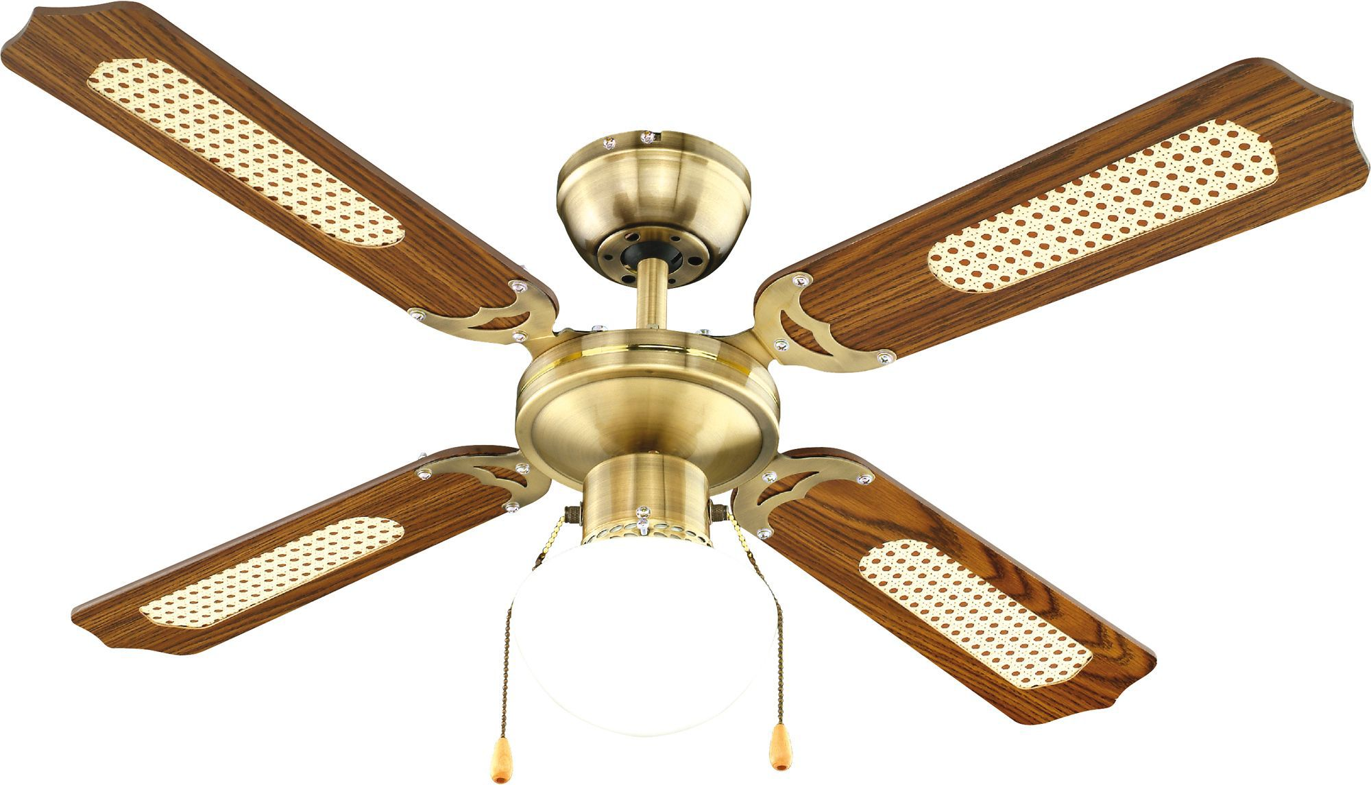 Reamington Antique Brass Effect Ceiling Fan Light