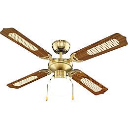 Reamington Antique Brass Effect Ceiling Fan Light
