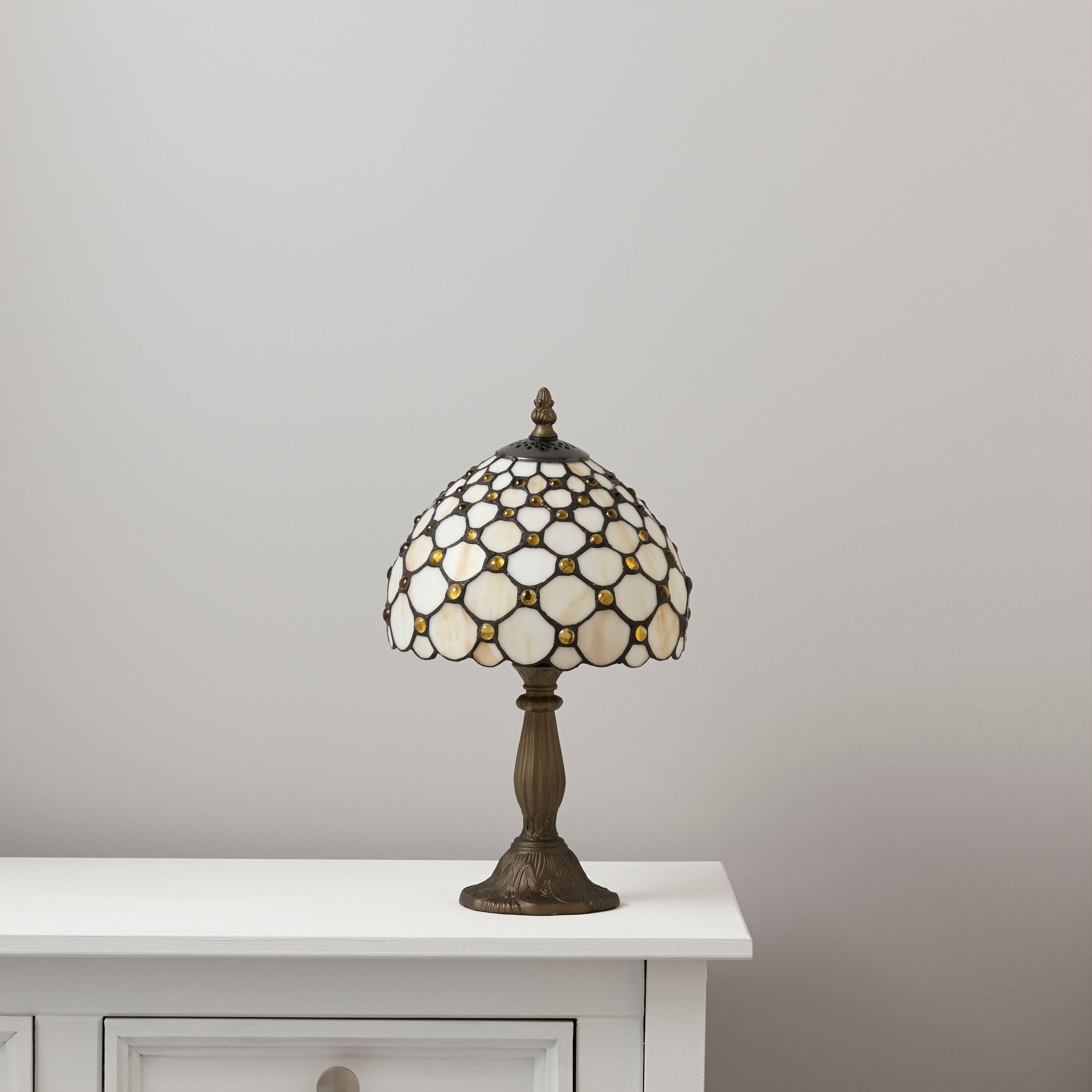 Layla Brown, Orange & White Antique Amber Effect Table Lamp