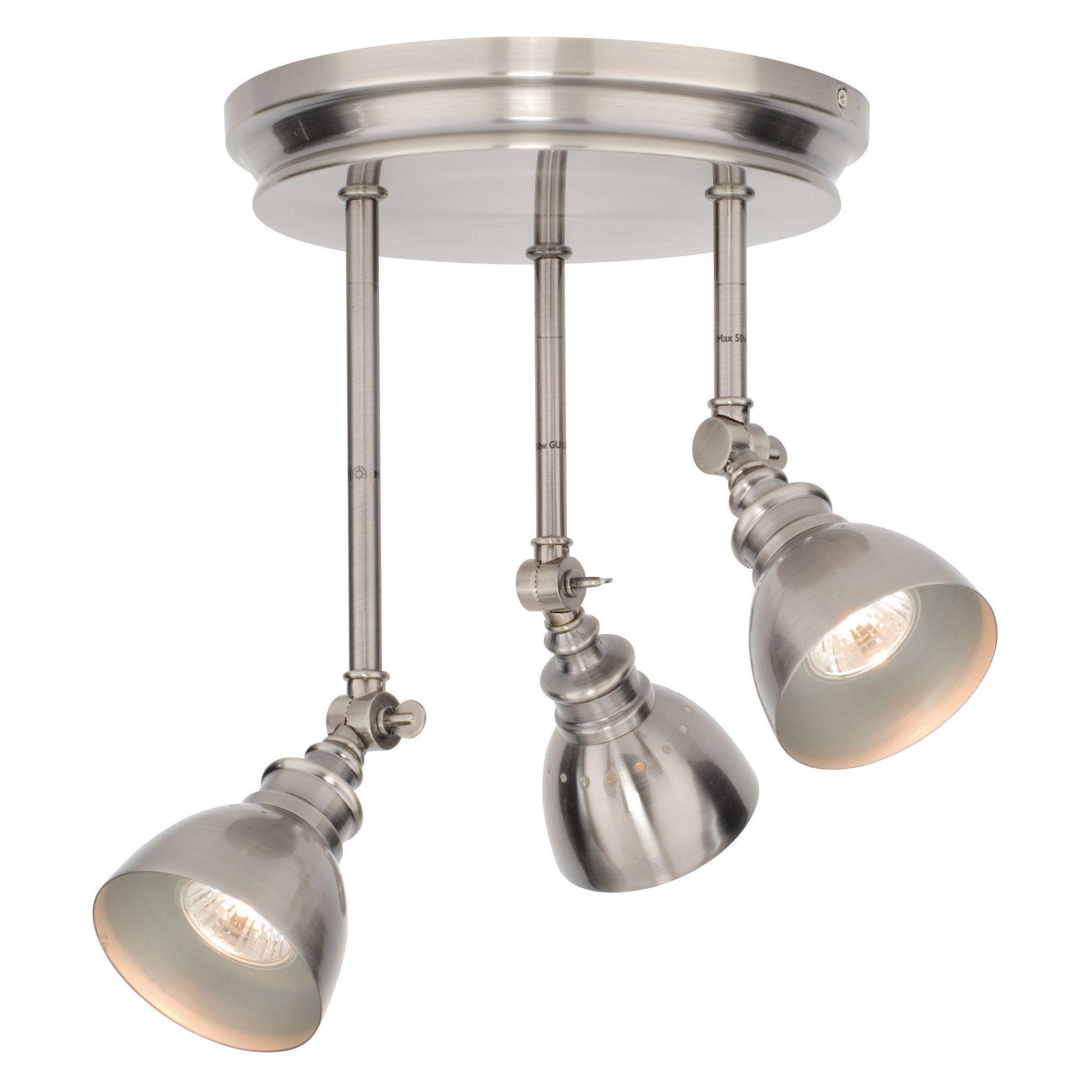Penn Modern Nickel Effect 3 Lamp Spotlight