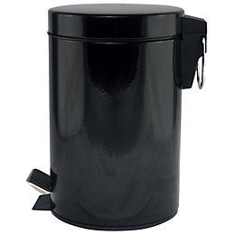B&Q Baya Black Steel Circular Pedal Bin, 3L