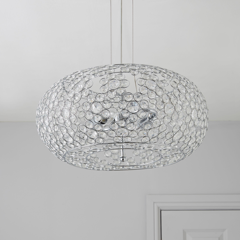 Chandelier Lighting B Q: Avella Crystal Bead Silver 2 Lamp Pendant Ceiling Light
