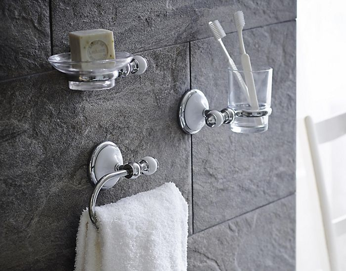 Wall-mounted toothbrush holder, soap dish and towel rail