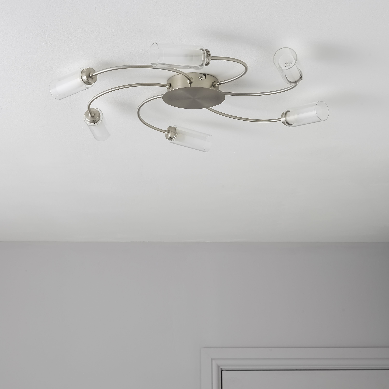 figari spiral brushed chrome effect  lamp ceiling light departments diy  bq