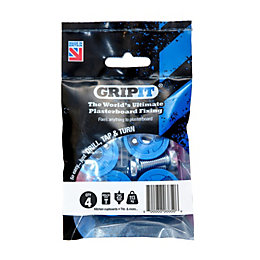 GripIt Plasterboard Fixings (Dia)25mm, Pack of 4