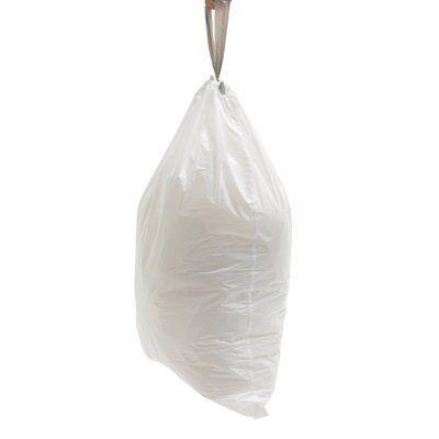 Simplehuman White Plastic Waste Bin Liner Size Code H 30-35kg, Pack Of 20