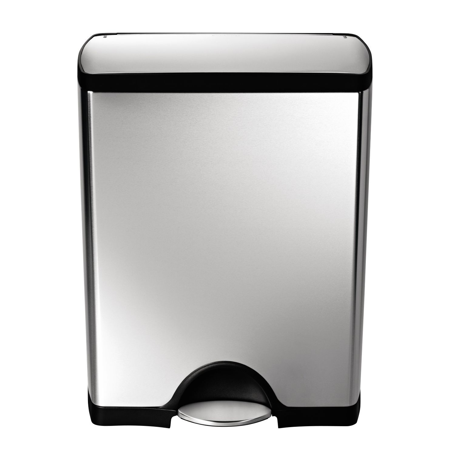 simplehuman silver stainless steel rectangular pedal bin 50l departments. Black Bedroom Furniture Sets. Home Design Ideas