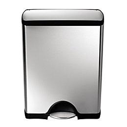 simplehuman Silver Stainless Steel Rectangular Pedal Bin, 50L