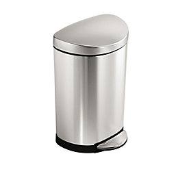 simplehuman Brushed Stainless Steel Semi-Round Pedal Bin, 10L