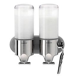 simplehuman Brushed Chrome Wall Mounted Twin Pump Dispenser