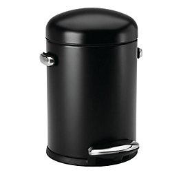 simplehuman Gloss Black Steel Round Pedal Bin, 4.5L