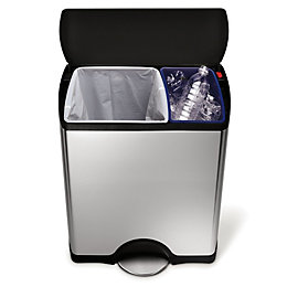 simplehuman Stainless Steel Rectangular Recycling Bin, 46L