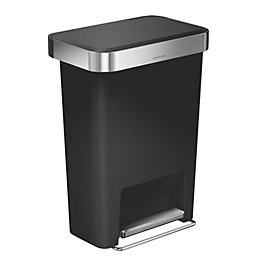 simplehuman Matt Black Plastic Rectangular Pocket Liner Bin,