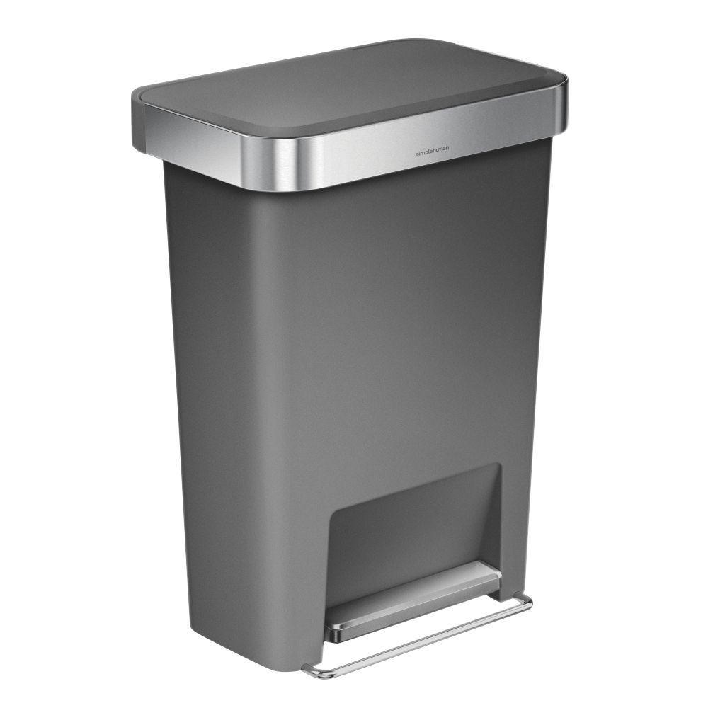 simplehuman matt grey plastic rectangular pocket liner bin 45l departments diy at b q. Black Bedroom Furniture Sets. Home Design Ideas