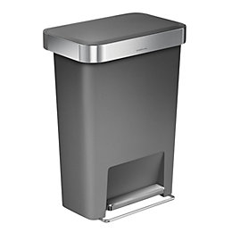 simplehuman Matt Grey Plastic Rectangular Pocket Liner Bin,