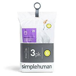 simplehuman White Plastic Bin Liner Size Code G