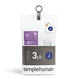 simplehuman White Plastic Bin Liner Size Code J