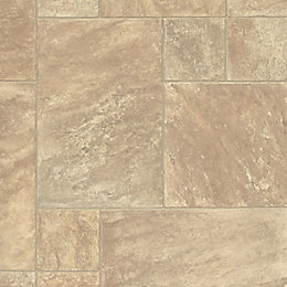 Torrezo Beige Stone Tile Effect Vinyl cut to