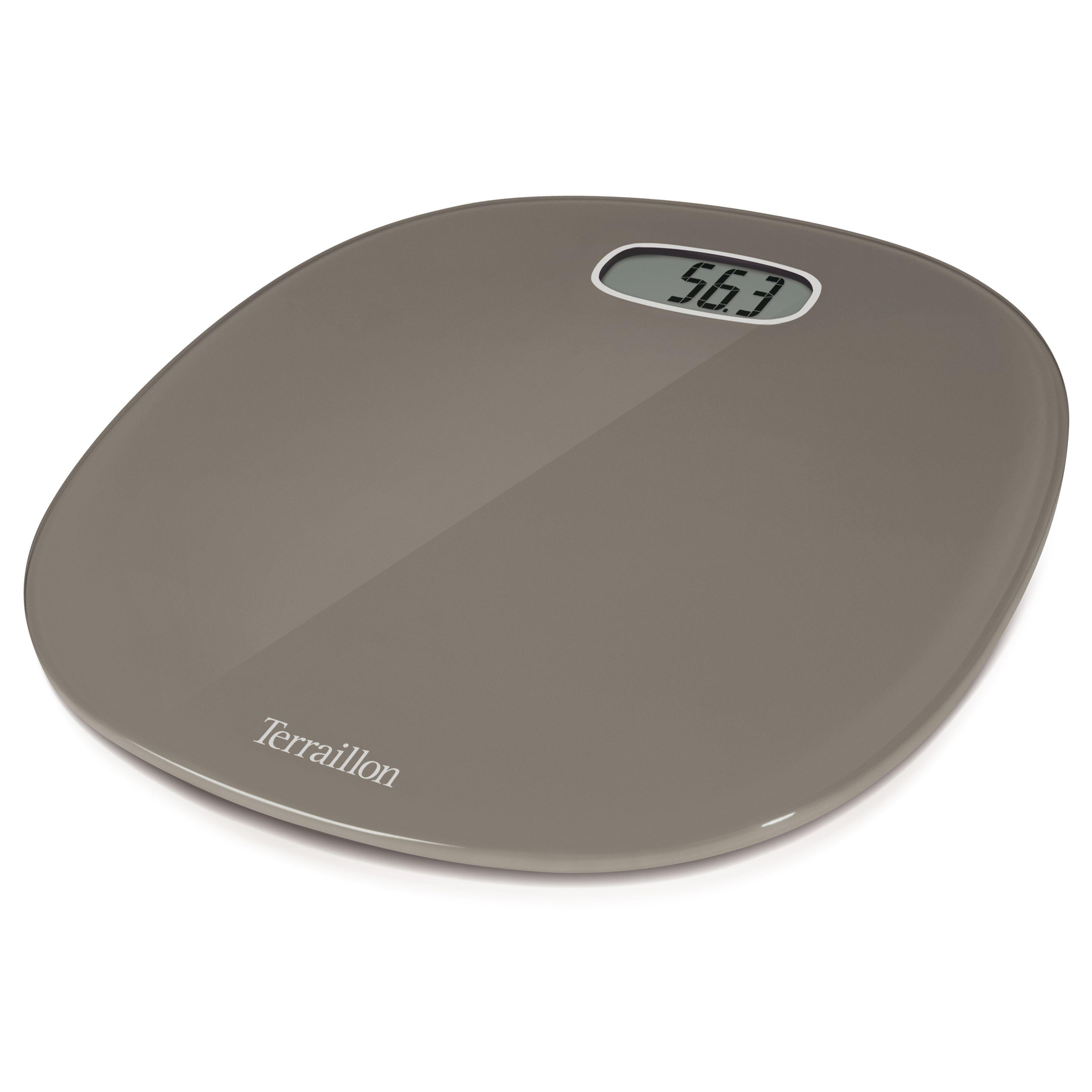 B q bathroom scales - Terraillon Pop Taupe Slim Curved Bathroom Scale