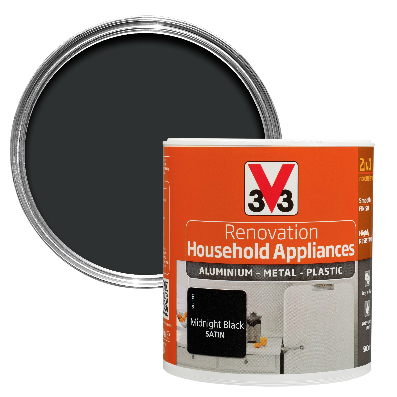 V33 Renovation Midnight Black Smooth Satin Household Appliance Paint 500 Ml