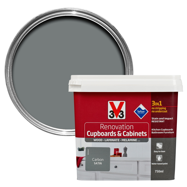 V33 Renovation Carbon Smooth Satin Kitchen Cupboard