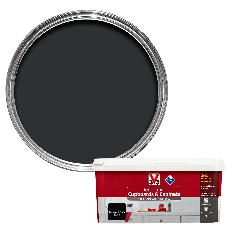 V33 Renovation Midnight Black Smooth Satin Kitchen Cupboard & Cabinet Paint 2 L
