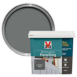 V33 Renovation Graphite Satin Panelling Paint 750ml