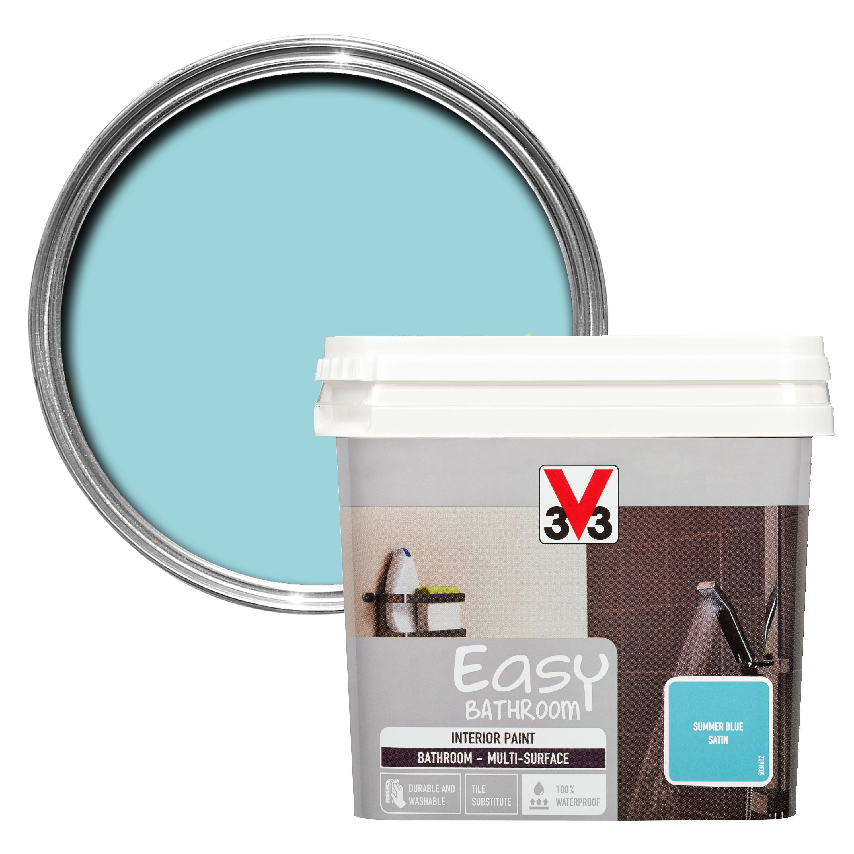 v33 easy summer blue satin bathroom paint departments diy at b q. Black Bedroom Furniture Sets. Home Design Ideas