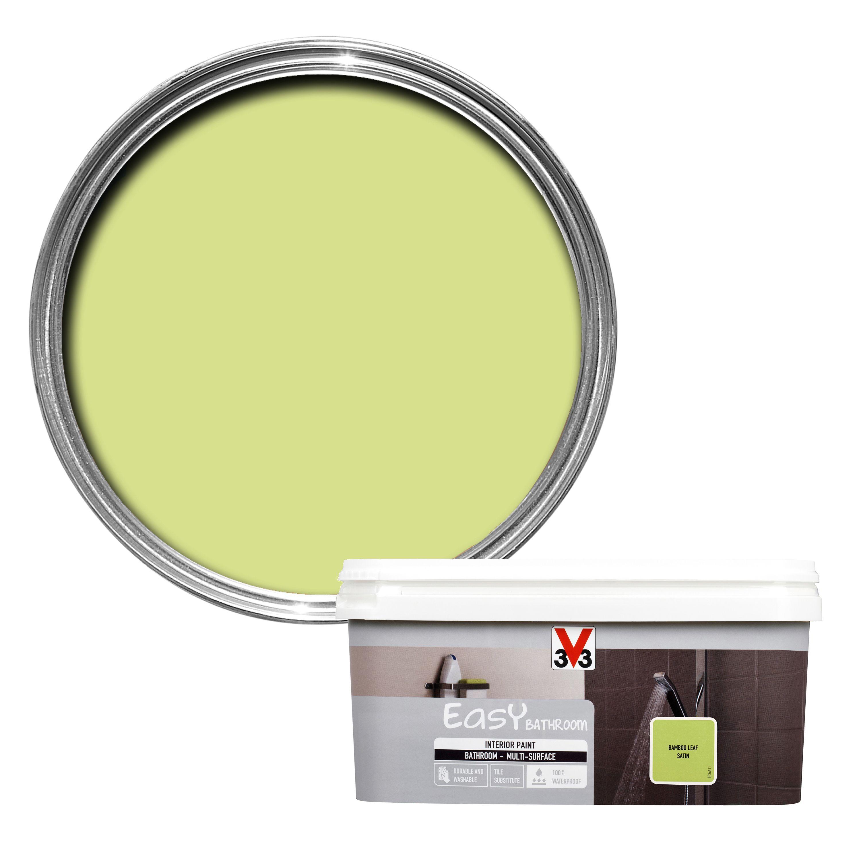 v33 easy bamboo leaf satin bathroom paint 2l departments diy at b q. Black Bedroom Furniture Sets. Home Design Ideas