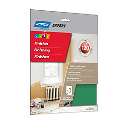 Norton 120 Fine Sandpaper Sheet, Pack of 3