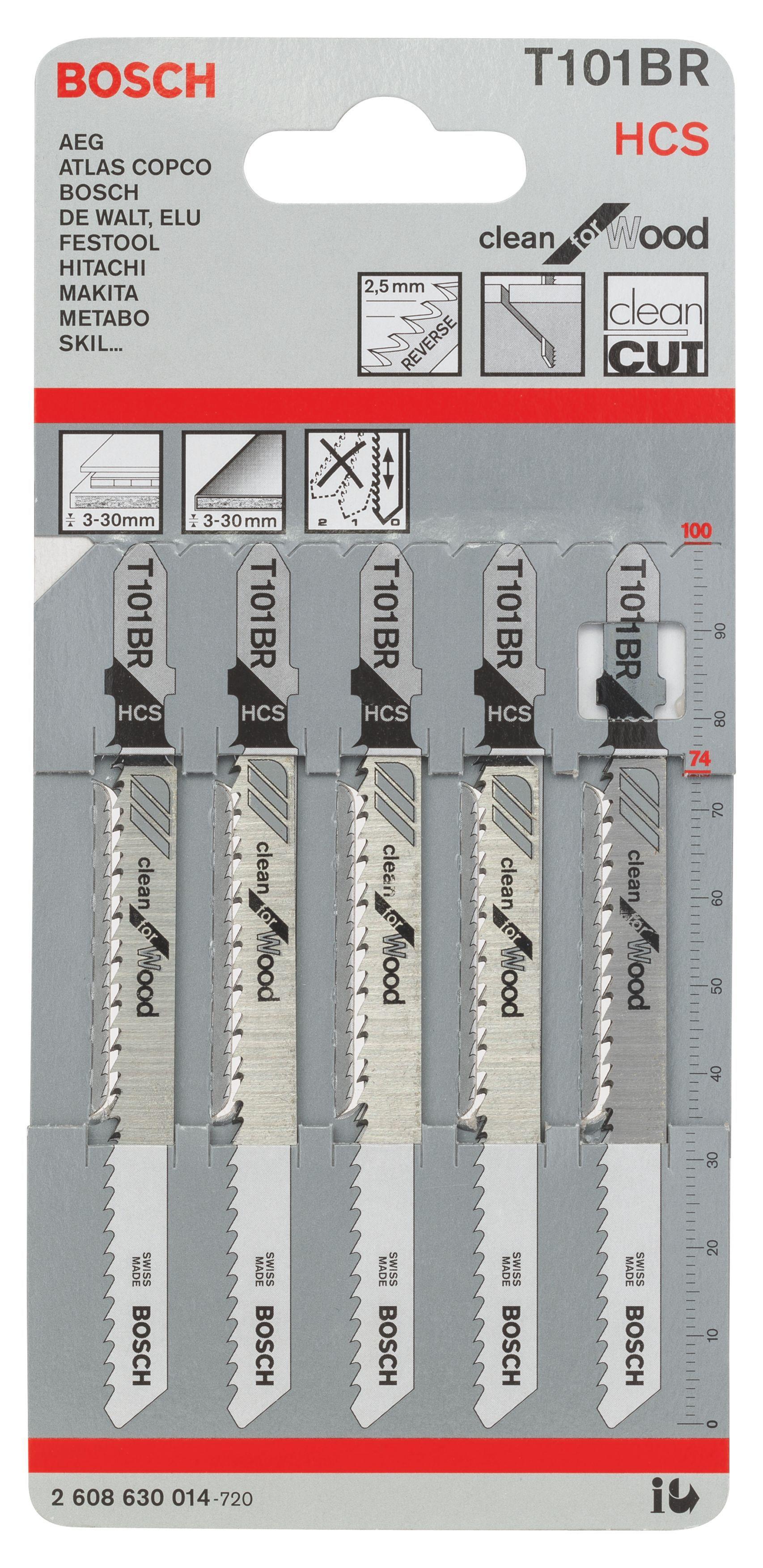 Bosch Bayonet Fitting Jigsaw Blade T101br 74mm, Pack Of 5