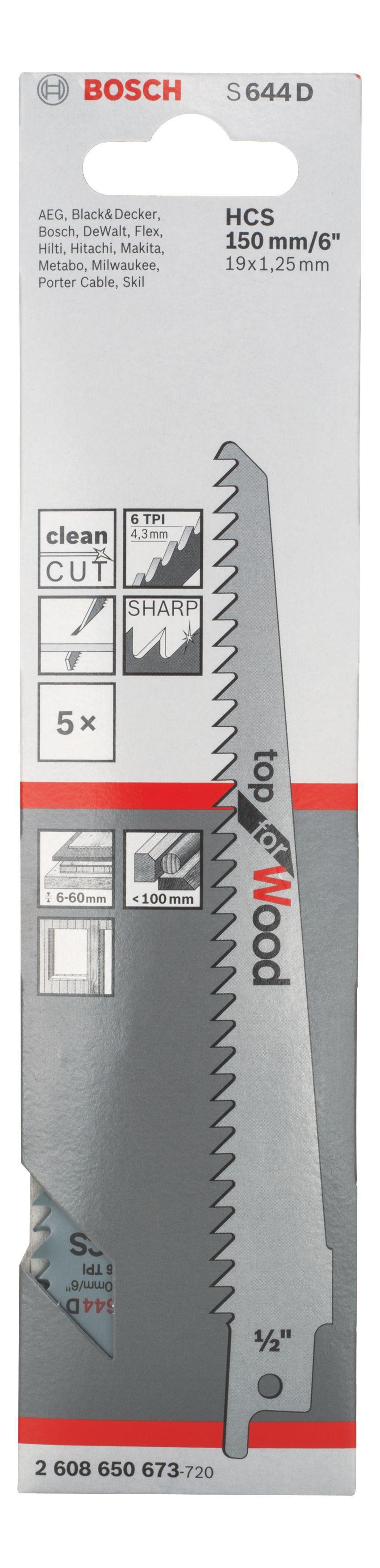 Bosch Sabre Saw Blade (l)150mm, Pack Of 5