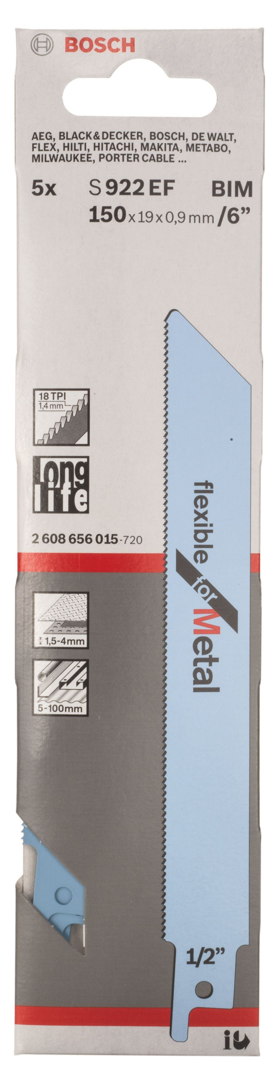 Bosch Flexible Sabre Saw Blade (l)150mm (dia)100mm, Pack Of 5