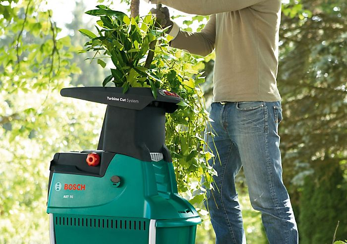 Garden shredder in use