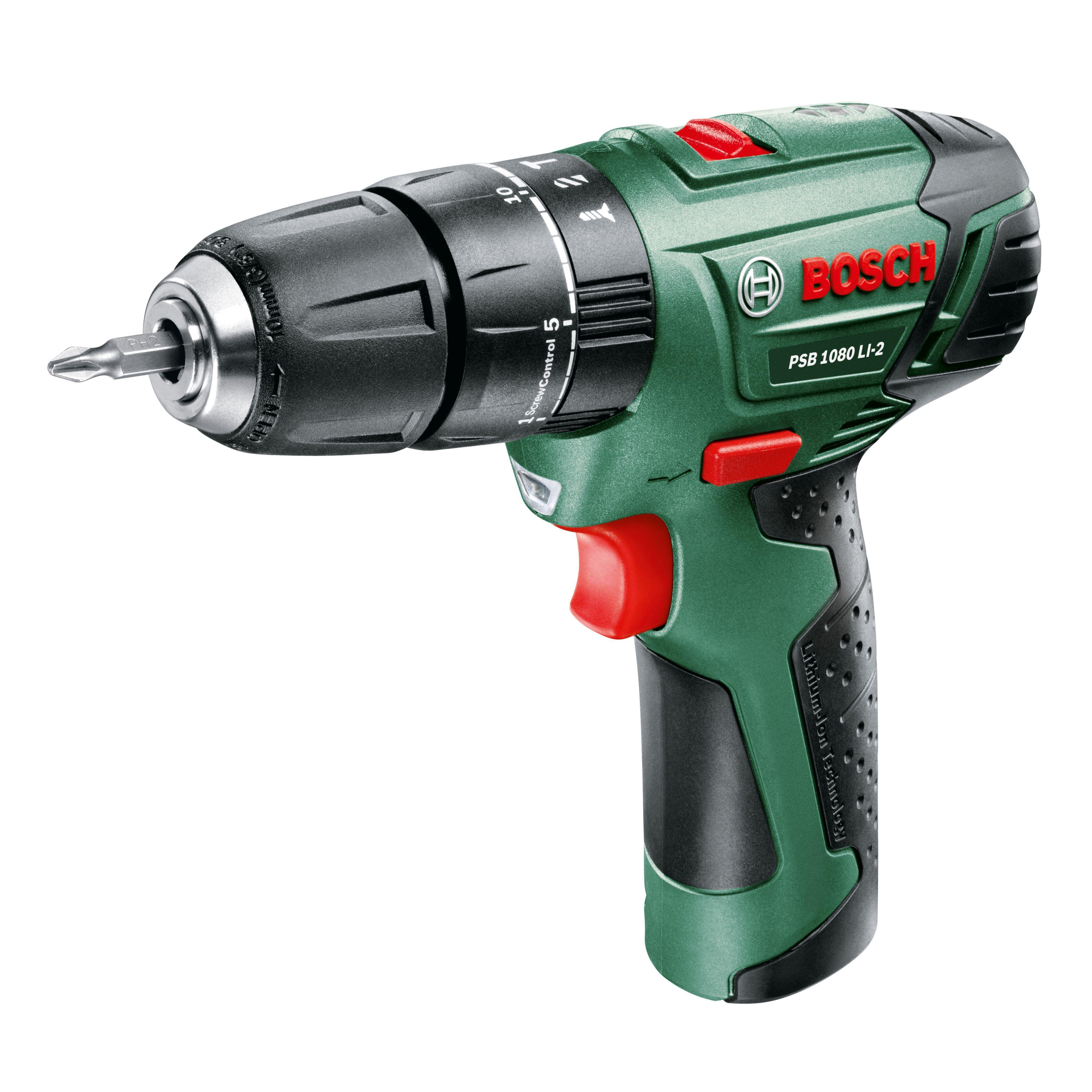 Bosch Cordless 10.8v 1.5ah Li-ion Hammer Drill 1 Battery Psb1080li-2