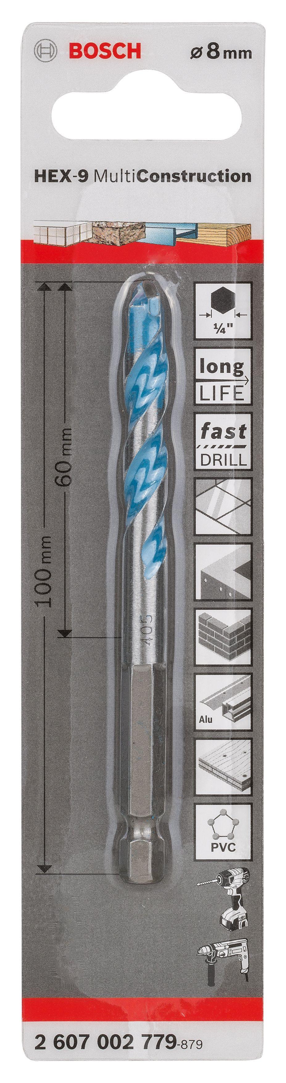 Bosch Hex-9 Drill Bit (dia)8mm (l)100mm 8 Mm