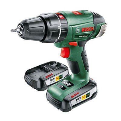 Bosch Cordless 18v 2.5ah Hammer Drill 2 Batteries Psb18li-2